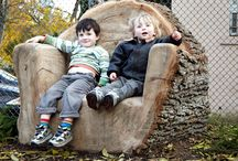 garden furniture from giant logs
