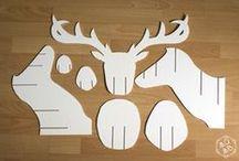 Animaux 3D en papier / Ensemble de créations représentant des animaux en papier plié ou papier mâché