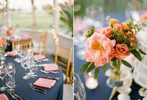 Navy and Peach Weddings