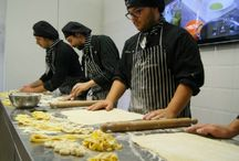 Tecniques in Making Handmade fresh Pasta / Pictures of lessons on Handmade Fresh Pasta. Gnocchi, Lasagne, Tagliatelle, Ravioli, Polenta, linguine and regional varieties of Italian fresh pasta and stuffed pasta. Teachings from the best Italian Chefs. Chef Program and Sous Chef Program.
