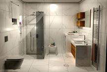 Livorno White 60 x 60 cm / Σχεδιαστική πρόταση και Φωτορεαλιστική απεικόνιση η οποία αφορά κατασκευή μπάνιου σε μονοκατοικία στην Θεσσαλονίκη.