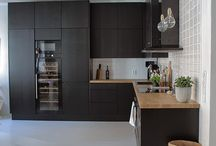 Black modern kitchen // Interior
