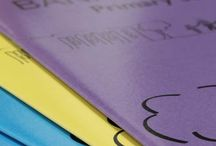 School Exercise Books / A showcase of our school exercise book samples - gloss laminated Bespoke Exercise Books