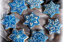 Gingerbread House Blue & White / Gingerbread Gingerbread house Gingerbread houses Christmas cookie Cookie House Cookie Houses Christmas Hanukah
