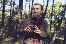 Vintage Hiker with Beard in Forest