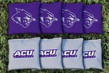 Abilene Christian Wildcats Tailgating Games and ACU Man Cave Decor / Abilene Christian University Wildcats Cornhole Boards, Wall Art, Washers and Tumble Tower Games and Corn Hole Bags
