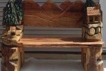 Lavice,židle, řezby