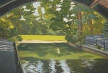 Landscape paintings / One of two paintings from Prospect park of the same scene, The other painting faces the other way. This was my experiment in dealing with architectural elements, such as the arch in the foreground.