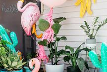 Palm spring party / Inspiration for your little ladies Palm Springs birthday party or mama to be baby shower.. everything from cactus's, flamingo's too pineapples.. Tropical vibes and bright colours.