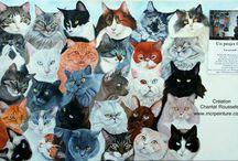 35 chats peints sur le même tableau