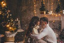 Christmas couple and family