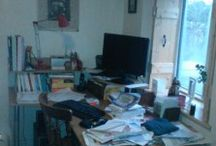 The state of my desk / Series of photos that show the varying state of my writing desk as I work of my books.