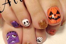 uñas pies hallowen