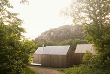 Wood cabins sloping roof