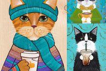 Кофе и котики (можно заказать у иллюстратора)
