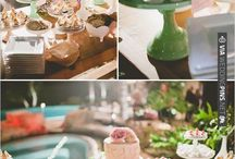 Pink & green dessert table