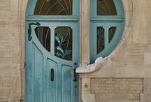 doors, balconies, door handles and other architectural details in  art nouveau style
