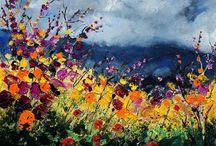 цветы мастихин