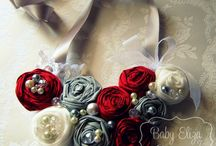 grey ivory red wedding theme
