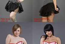 Rockabilly Styles / Overbust corsets, underbust corsets, corset tops and skirts in retro fabrics and prints. Polka dot, cherries, daggers, skulls and roses, cupcakes and pinup style.