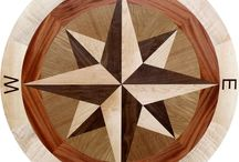 Elaine 42in Hardwood Floor Medallion / Hardwood floor medallion in a #compassrose style.