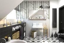 Eleganckie i funkcjonalne łazienki / Urządzenie łazienki z lukarną nie należy do prostych zadań.  Jeśli jesteś zwolennikiem jasnych, rozświetlonych wnętrz  urządzonych prosto i funkcjonalnie ten styl jest dla Ciebie. Meble pozbawione dekoracyjności, wykonane zostały w industrialnej formie.  Po więcej inspiracji zapraszamy na naszą stronę: http://monostudio.pl/portfolio_item/lazienka-w-czarnuszkach/ oraz na Facebooka