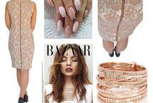 Nude Dress Tubino / Nude Lace dessin dress, rose-gold zipper