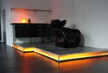WOODEN TILE / wooden designer lighting on furniture
