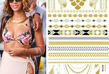 Metallic Flash Tattoo / - Trendy, jewelry inspired metallic temporary tattoos. - Lasts up to 5 days, easy application and removal. - Non-toxic, waterproof. - Perfect for vacations, beach, girls nights, pool parties, bachelorette parties, weddings, etc!