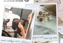 Playing around - at work / Some behind the scenes of our work days ... surrounded by sparkly treasures. (Not sure if it's really work!)