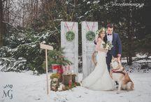 Zimowa sesja ślubna / Dekoracje zimowej sesji ślubnej. Kwiaty i scenografia Uroczyste Dekoracje.