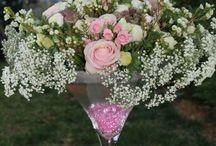 composition rose mauve blanc