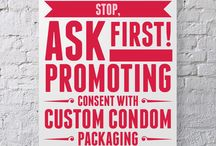 Stop, Ask First. Encouraging Consent and Sex Positivity with Custom Condoms / Student groups, women's centers, health organizations and the like collaborate with us at Say it With A Condom to create engaging, impactful campaigns that push for #consent and #SexualAssaultAwareness on college campuses and in our communities. Show your support for the cause with a custom campaign of your own.
