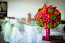 magenta,orange and green wedding
