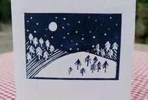 lino print christmas cards