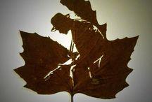 Природные материалы в дело - листья, шишки