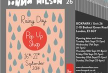 """Rainy Day Pop-up Shop, Sept 2014 / A weeklong installation and pop-up shop at BOXPARK for London Design Festival 2014.  The space will be transformed into a Donna Wilson wonderland, featuring an overhead installation of hundreds of soft raindrops, murals and panels showcasing Donna Wilson's first ever collection of fabrics, a """"selfie station,"""" knitted creatures everywhere, and limited edition products made especially for London Design Festival.   For more information please visit https://www.facebook.com/events/696543700399425/"""