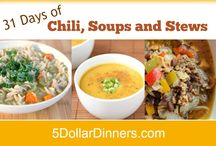 31 Days of Chili/Soup/Stew / Enjoy 31 days of delicious chili, soup and stews in big stock pots and slow cookers as we enter into the cooler months of fall and winter!  See all of these recipes and hundreds more at 5DollarDinners.com. / by $5 Dinners {Erin Chase}