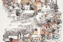 Houses drawing
