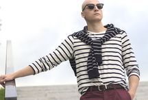 Men's marine style: nautical fashion / Summer marine outfits. Nautical men's fashion. Boat shoes, breton tshirt and colorfull chino. A lot of color navy and white.
