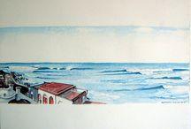 Aquarelles , dessins, Pays Basque.
