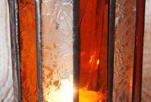 Lampiony / Dekoracje wykonane ze szkła.