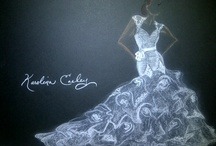 Design Room Sketches / Wedding Gown Sketches from the Karolina Easley design room.  Nothing happens without first having a vision.  My vision begins with charcoal against a black backing in an effort to showcase white or lightly colored designs.