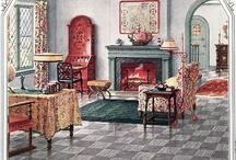 Underfoot / Floor coverings, wood floors, marquetry, linoleum, ceramic tile, rugs and carpets.