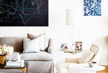 Inspo: Living / Artwork, White walls, tailored couches, tall simple curtians