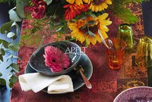 Herbst 2016 -  Kissen und Tischwäsche / Mit unseren Stilthemen INDIAN SUMMER, LOFT-STYLE, WINTERWELT und CHRISTMAS ELEGANCE setzen wir erneut textile Akzente für die  kommende Herbst und Winter-Saison. Die Farbwelten bewegen sich in bewährten Rost-, Orange- und Brombeer- Tönen, neu sind die Pastellfarben Mauve, Pfefferminz und helles Grau.