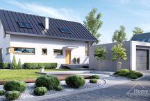 HomeKONCEPT 4 I Projekt domu / Projekt domu HomeKONCEPT 4 wyróżnia  zwarta i przestronna bryła, z ciekawymi detalami. Ogromną zaletą tego projektu jest garaż który nie jest połączony z domem – można więc dowolnie ustawić na działce, w zależności od jej warunków.