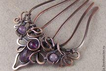 drátované šperky - hřebeny