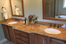 Bathroom Vanity Top Fabrications and Installation / This is our portfolio of vanity countertops in the bathroom. Amazon Stone is licensed, insured, and bonded. Our turnaround time from template to installation is 7-10 days.