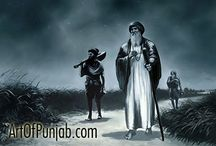 Guru Nanak and His Companions (blue tonal sketch) / Renowned Sikh painter Kanwar Singh (artofpunjab.com) has been creating exceptional paintings exclusively devoted to the Sikh religion and history for over ten years. His work is continually exhibited world-wide in prominent heritage sites such as the Virasat-e-Khalsa museum at Anandpur Sahib. Visit the artist's online gallery to see his sought after paintings and select affordable fine art prints for your own home or to be presented as a unique gift.